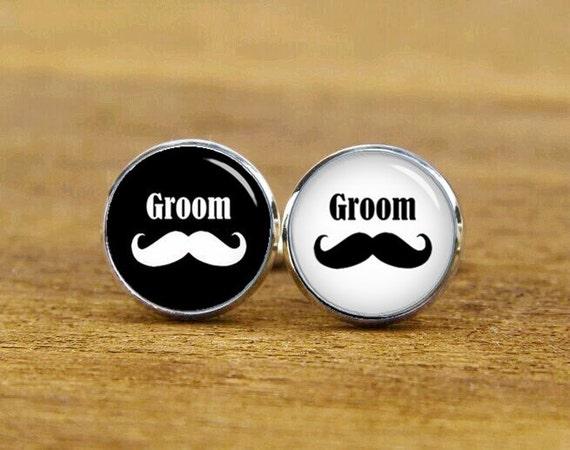 mustache cufflinks, personalized cufflinks, big man cuff links, beard, custom wedding cufflinks, round, square cufflinks, tie clips, or set