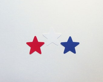 """60 Red, White, Blue Star Die Cuts - 2"""" Inch Diecuts Scrapbooking Night Sky Fourth of July Gift Wrapping Stationery Craft Cards Decoration"""