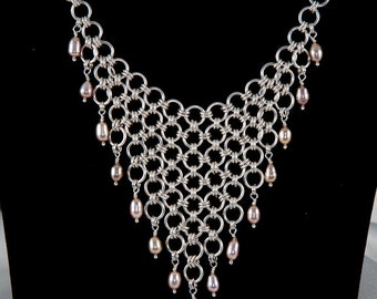 Handmade Womens Solid Sterling Silver Pearl & Chainmaille Statement Necklace - Hallmarked