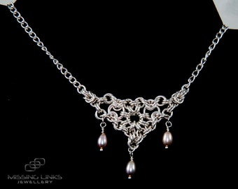 Pearl Bridal Chainmaille Necklace Sterling Silver Wedding Jewellery - Hallmarked