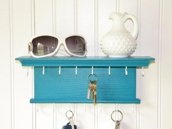 Key Holder Wall Shelf Wood Handmade Wall Mounted Satin Lagoon