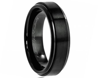 black wedding band mens wedding band black ring men promise rings mens - Wedding Rings Men