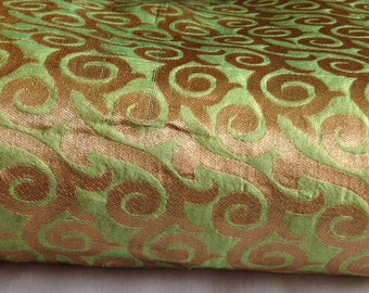 4 meters Brocade Fabric, Indian ,Green  Brocade Fabric, Indian Silk Fabric, Indian Fabric, Wedding Fabric, silk Brocade Fabric, Dress Fabric