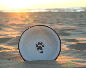 Dog Bowl with NAME ENGRAVED Pet Bowl, Dog bowl pottery, Metal Dog Dish, Personalized Pet Dish, Custom Dog Bowl, Bowl with Name, Dog Name