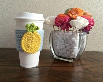 Pineapple Cozy - Crochet Cup Cozy - Crochet Cup Sleeve - Pineapple Cup Sleeve - Summer Accessory - Drink Cozy - Coffee Cozy - Coffee Sleeve