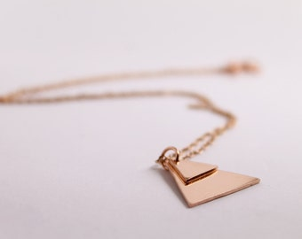 Layered Triangle Pendant, Handmade from Copper, Geometric layered triangle necklace, Minimalist Style Necklace, Geometric Jewelry, Triangle