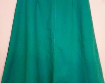 "Vintage Retro Jade Mint Green Polyester A Line Aline Skirt 29"" Waist Sized 15/16"