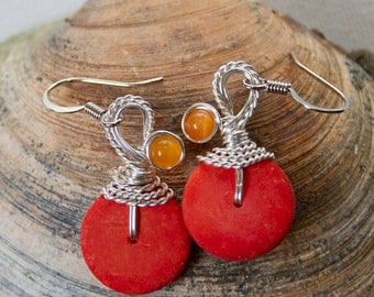 Orange Earrings, Colorful Earrings, Summer Jewelry, Wirewrapped Jewelry, Summer Colors, Bright Orange, Orange Dangle, Orange Drop Earrings