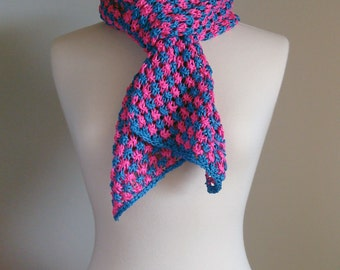 Hand Knit checkered scarf, chunky pink blue scarf, checkered spring scarf, summer lace scarf, multicolor spring scarf, multicolor lace scarf