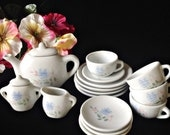 Child's 17-Piece Toy Tea Set for 4 - China Play Dishes