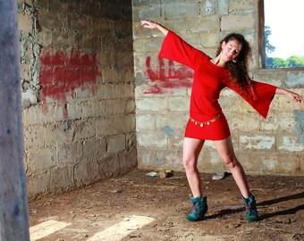 SALE 30% OFF Winter Red Dress , Boho Bohemian Dress , Spring Summer Dress, Batwing Sleeves, Tunic Dress