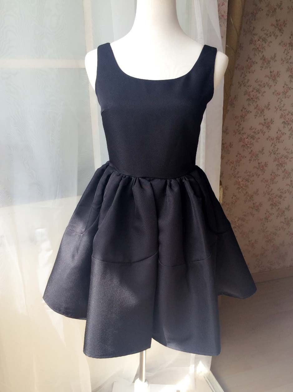 Little black dress lbd black princess dress fit and flared for Little black wedding dress