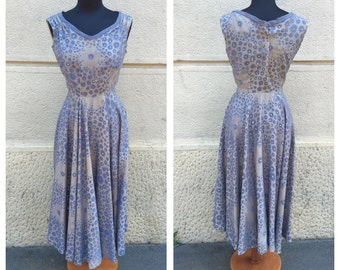 50s Silk Sartorial Dress Size S