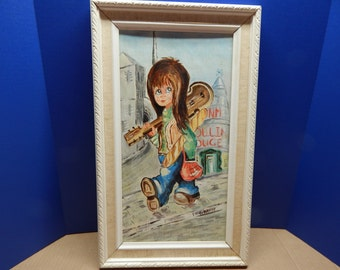 """Retro Big Eyed Girl Painting by C Brody 17"""" x 8 1/2"""" In Good Condition Not Dated Probably 70's in Original Frame"""