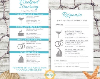 Simple and Modern Wedding Itinerary Card with RSVP Card Customize for a Beach Wedding, Tropical Wedding Destination Wedding Itinerary