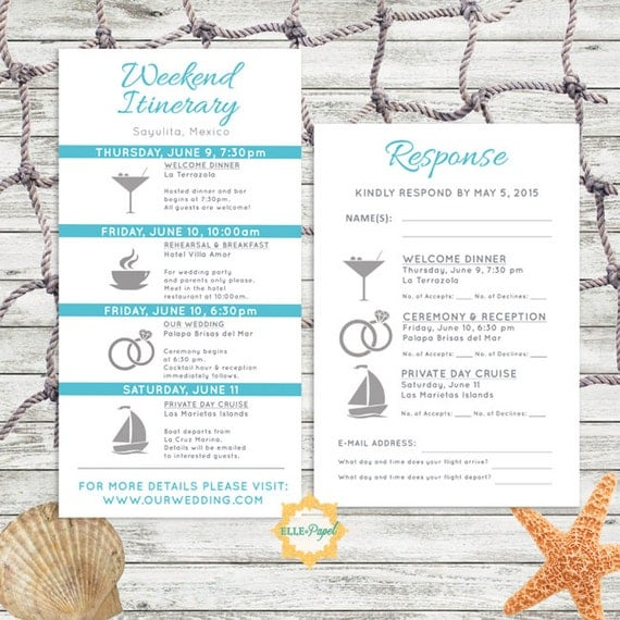 simple and modern wedding itinerary card with rsvp card. Black Bedroom Furniture Sets. Home Design Ideas