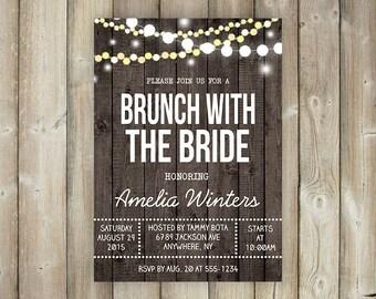BRUNCH WITH the BRIDE Invitation - Bridal Brunch Invite - Bridal Shower - String Lights - Rustic - Wood - Digital File