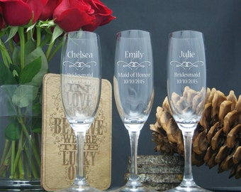 Personalized Champagne Glasses / Bridesmaids Gifts / Engraved Wedding Party Glasses / Custom / 16 DESIGNS / Select ANY Quantity