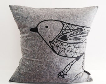 "Scandinavian Bird cotton / linen hand screen printed pillow / cushion cover 18"" or 20"". Black + white stripes, decorative textile."