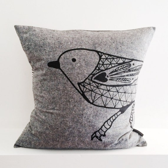 Scandinavian Bird cotton / linen hand screen printed pillow