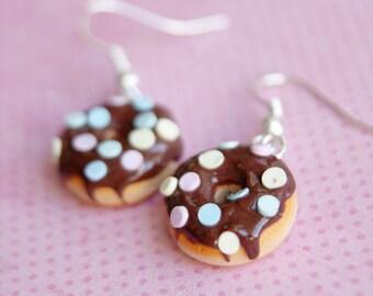Chocolate Pastel Color Sprinkles Donuts Earrings Polymer Clay  Handmade Miniature Food Cute Sweet