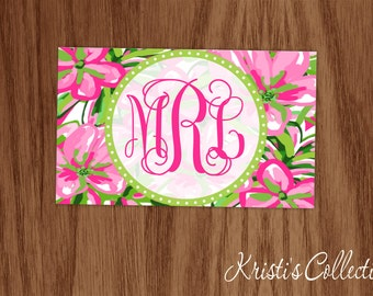 Preppy Bag Tag, Personalized Monogrammed Tropical Luggage Backpack Diaper Dance Sports Bag Tag - Floral Book Bag Tag