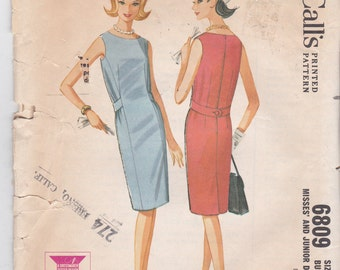 Straight Sleeveless Dress Vintage McCall's Sewing Pattern 6809 Size 12 Bust 32