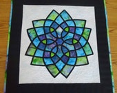 Stained Glass Quilt Celtic Style Watercolor Quilted Wall Hanging/Table Topper Art Quilt