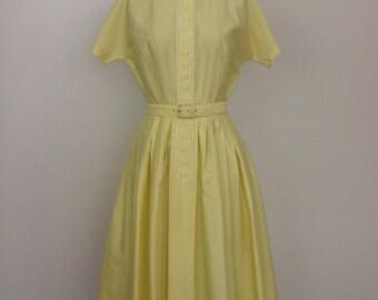 1950's Yellow Swiss Dot Belted Shirtwaist, 50s Yellow Cotton Swiss Dot Shirtwaist