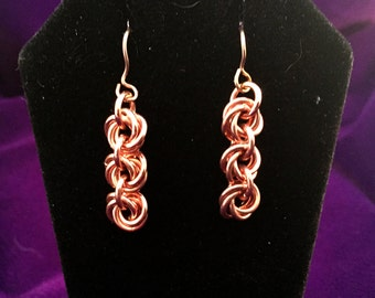 Copper Chainmaille Earrings - Mobius Flower - Chainmail Jewelry