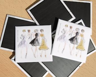 "Fashion Group Illustration Magnet - 2"" Square Button Magnet"