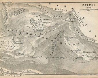 1909 Delphi Greece Antique Map