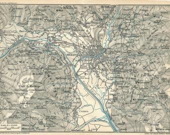 1927 Merano Italy Antique Map