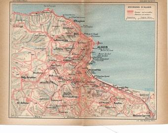 1927 Algiers Algeria Antique Map