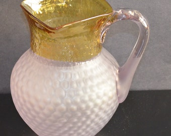 Antique Glass Pitcher Amber Frosted Francesware Inverted Honeycomb Pitcher Hobbs France Ware Victorian Art Glass