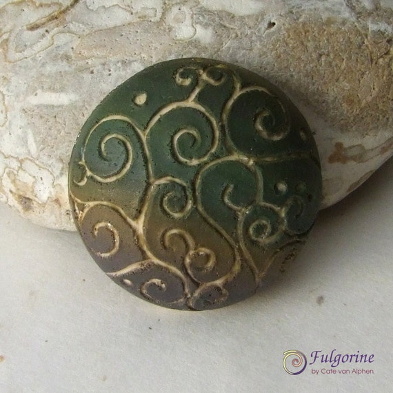 Hollow polymer clay cabochon, olive green brown and champagne filigree