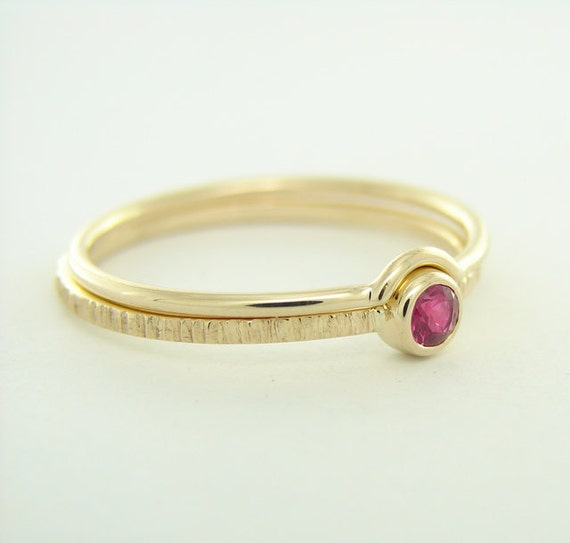 wedding set ruby ring with thin simple gold ring 14k by fromag