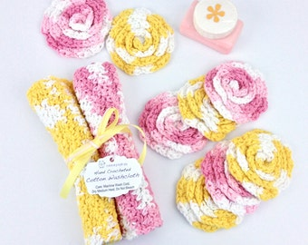 Facecloth Wash Cloth Set Pink Yellow White Bath Gift Set Crochet Washcloths Cotton Face Scrubbies Baby Washcloths Shower Favors Women Gifts