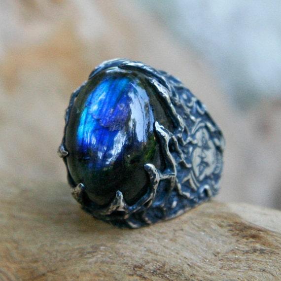 Blue Labradorite Mens Ring