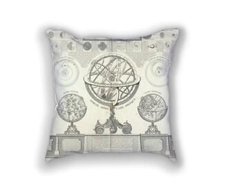 Decorative Pillow - Carte de Géographie Antique Print - Throw Pillow - Home Decor Accent Pillows - Vintage Astrologic Art Print on Pillow