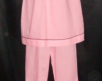 Vintage Slumber Party Pink Tunic Pajamas - New/Old Stock 34 Bust Small
