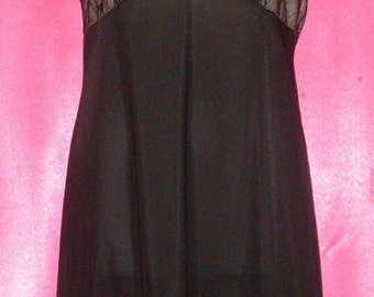 Vintage Black Illusion Lace Vanity Fair Nylon Full Slip 36