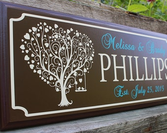 Personalized wedding sign-gift for newlyweds-best friend-gift for bride and groom-wood love tree sign-wedding gift last name establish
