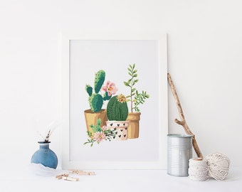 PRINTABLE Art Cactus Art Print Cactus Wall Art Home Decor Pink Nursery Decor Floral Cactus Art Print Garden Art Print Pink and Green