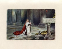 Vintage Kneeling Knight Postcard Gale and Polden Holding His Sword Armour in Front at Alter The Vigil by John Pettie Tate Gallery - 2709d