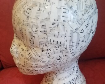 mannequin head with vintage music sheets on. made to order
