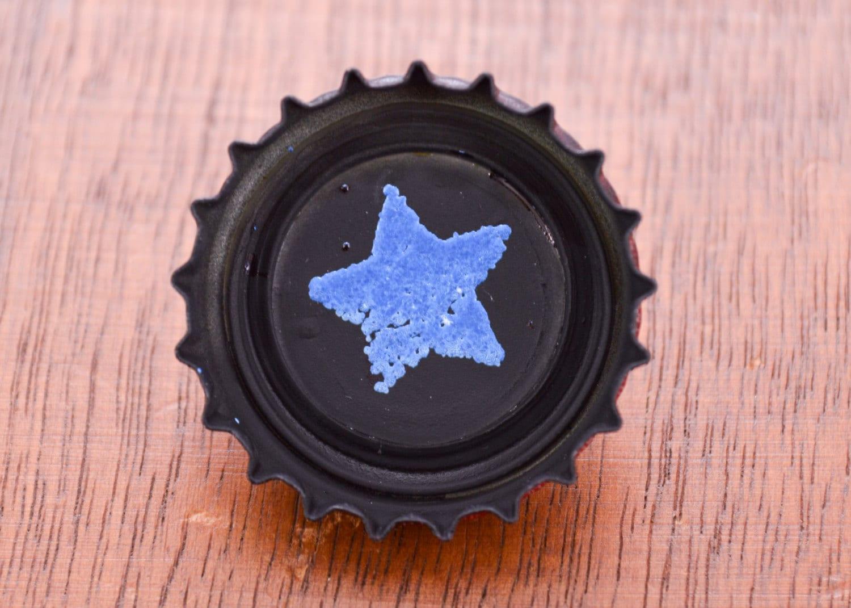 sunset sarsaparilla star bottle cap pin