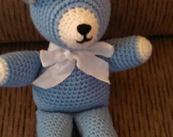 Blue and White Crochet Teddy Bear