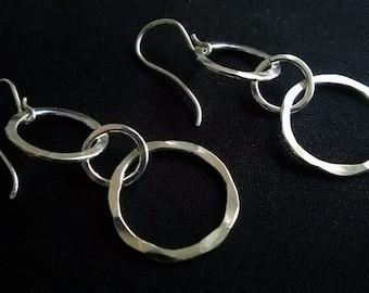 Triple Hoop Earrings/ Fine Silver Earrings/ Hammered Silver Earrings/ Long Silver Earrings/ Everyday Wearable Jewelry/ Classic Hoop Earrings