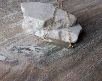 Grey Agate Bezel Set Gold Bar Pendant on a Gold Filled Chain Unique Bar Style Pendant Agate Necklace Different Agate Bar Gold Necklace BA098